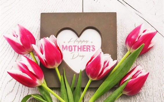 Wallpaper Pink tulips, Happy Mother's Day