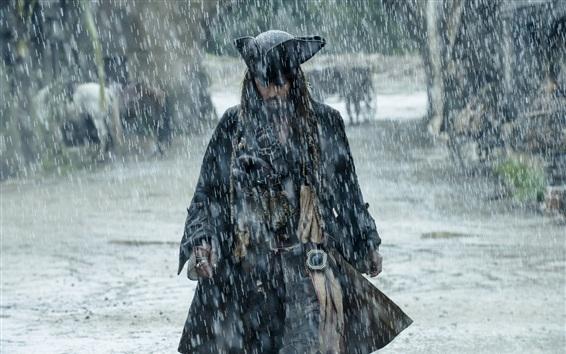 Papéis de Parede Piratas do Caribe 5, Johnny Depp, chuva forte