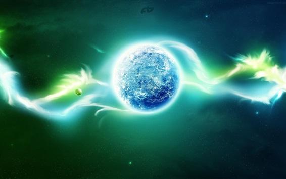 Wallpaper Planet, neon, glow