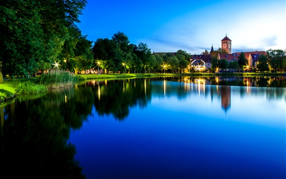 Wallpaper Poland, Szczytno, lake, houses, trees, lights, water reflection
