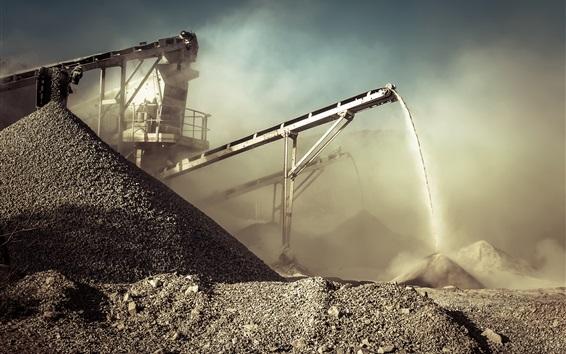 Fond d'écran Carrière, poussière, exploitation minière, roches, convoyeur