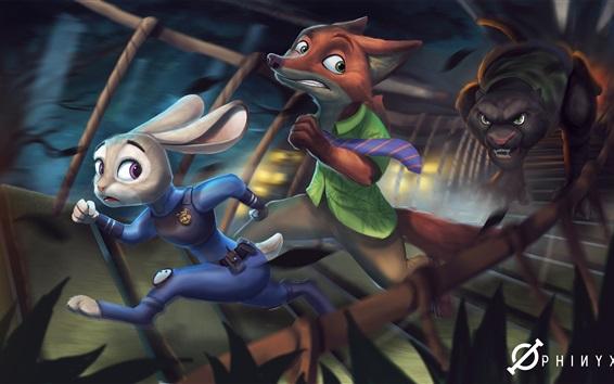 Fondos de pantalla Conejo y zorro, dibujos animados de Disney, Zootopia
