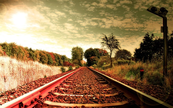 Wallpaper Railroad, grass, trees, clouds, sky, dusk