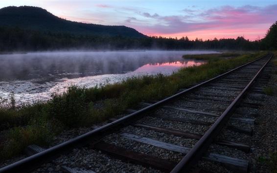 Papéis de Parede Estrada de ferro, rio, grama, nevoeiro, manhã