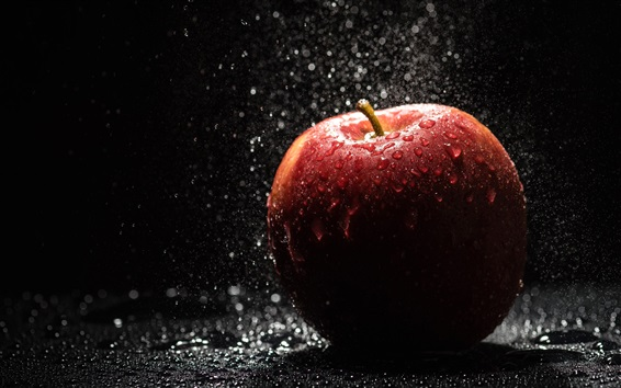 Wallpaper Red apple, rain, water drops