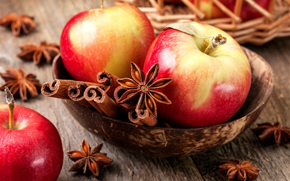 Wallpaper Red apples, cinnamon, spices