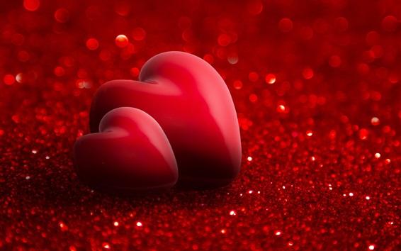 Wallpaper Red love hearts, romantic, shine