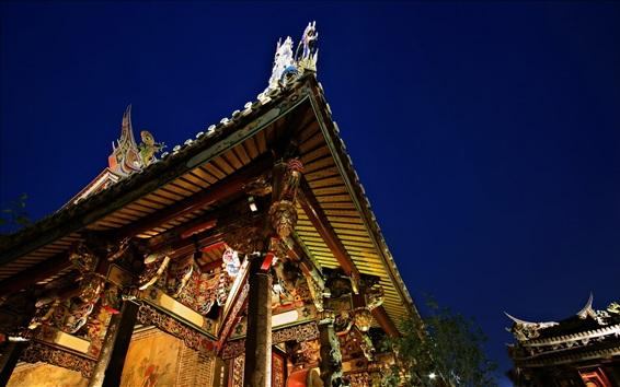 Wallpaper Retro building, beautiful, night, lights, China