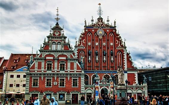 Papéis de Parede Riga, Letónia, monumento, edifícios, pessoas