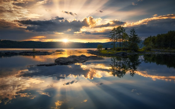 Wallpaper Ringerike, Norway, lake, trees, clouds, sunset