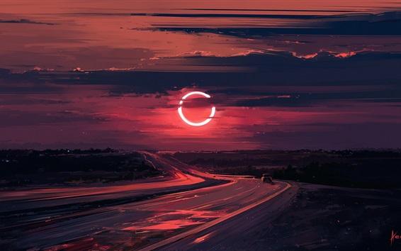Wallpaper Road, sunset, Eclipse, beautiful drawing