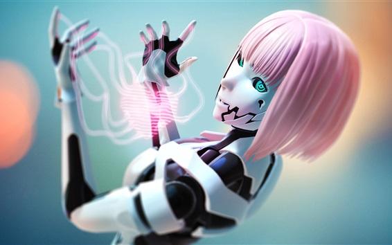 Wallpaper Robot, pink hair girl