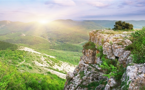 Обои Скалы, холмы, рассвет, утро