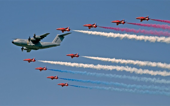 Wallpaper Royal Air Force, Red Arrows fighters, transport aircraft