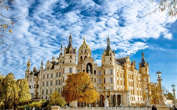 Fondos de pantalla Schwerin, palacio, árboles, otoño, cielo, nubes, Alemania