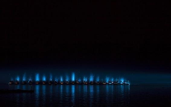 Fond d'écran Mer, nuit, bateaux, lumières