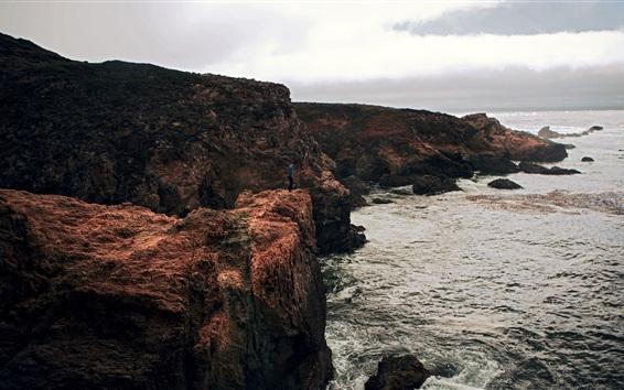 Fond d'écran Mer, rochers, nuages