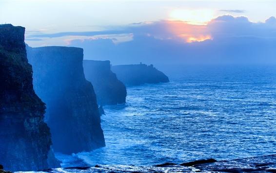 Fond d'écran Mer, rive, falaise, nuages, brouillard, matin, lever du soleil