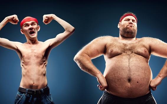 Papéis de Parede Magro, gordo, homens, poses
