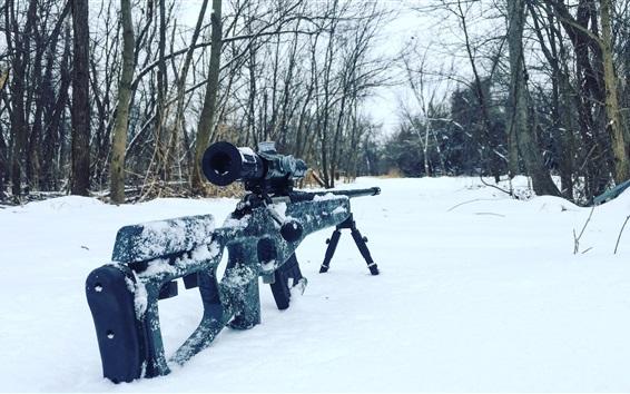 壁紙 スナイパーライフル、雪、木々、冬