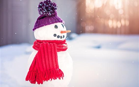 Обои Снеговик, шарф, шляпа, снег, зима, Новый год
