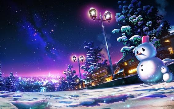 Wallpaper Snowy, night, snowman, street, lights, art picture