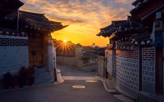 Papéis de Parede Coreia do Sul, Seul, cidade velha, manhã, nascer do sol