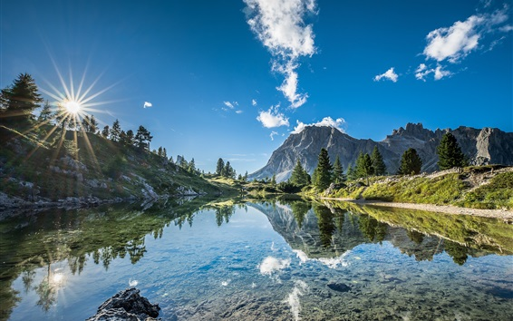 Wallpaper South Tyrol, Italy, lake, trees, mountains, blue sky, clouds, water reflection