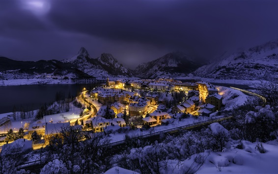 Wallpaper Spain, Castile and Leon, Riano, city, snow, winter, night, lights