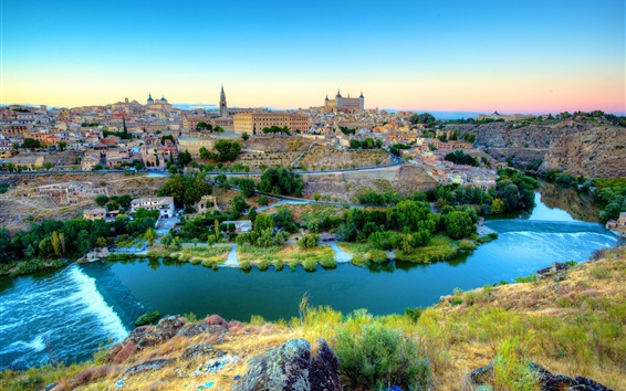 Wallpaper Spain, Toledo, beautiful city, river, houses