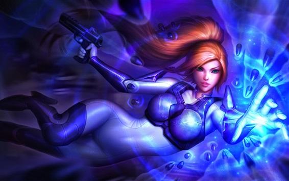 Обои StarCraft, девушка, синяя броня, рыжие волосы