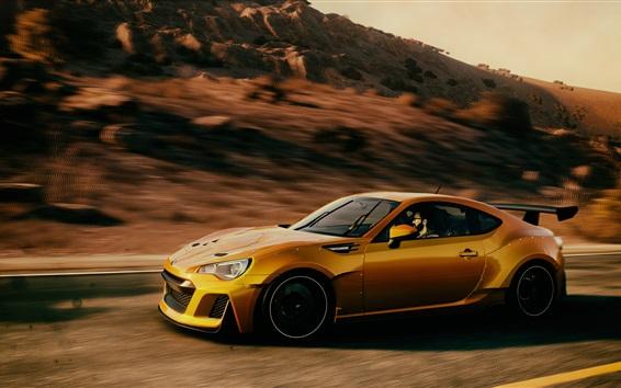 Fondos de pantalla Subaru velocidad del superdeportivo amarillo