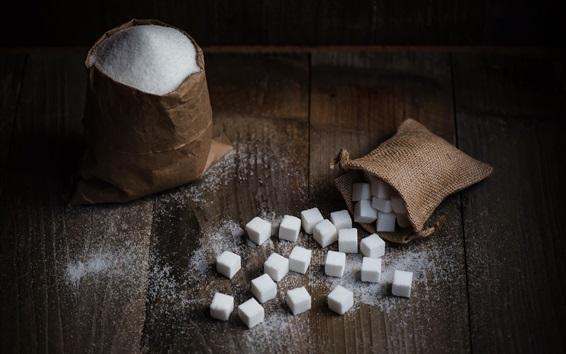 Fondos de pantalla Cubo de azúcar, bolsa, comida