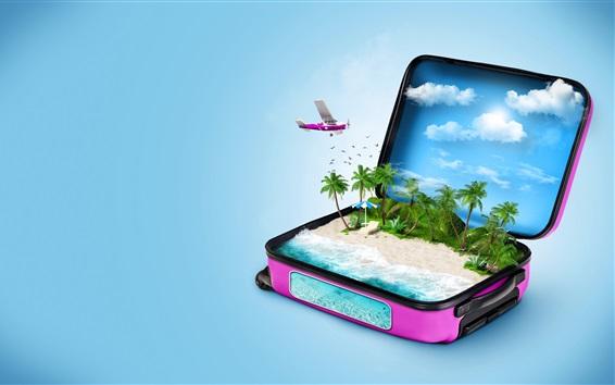 Fond d'écran Valise, plage, palmiers, mer, nuages, avion, image créative