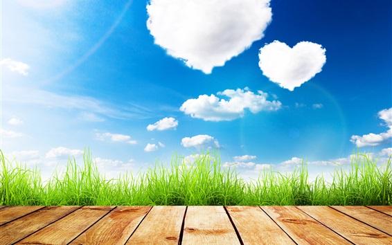 Papéis de Parede Verão, céu azul, coração coração nuvens, grama, madeira bordo