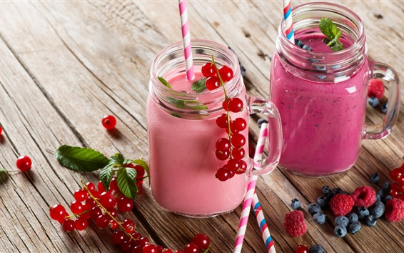 Wallpaper Summer dessert, smoothies, blueberries, currants, raspberry