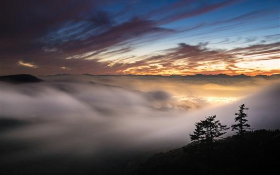 Обои Закат, красное небо, горы, туман, огни, сумерки