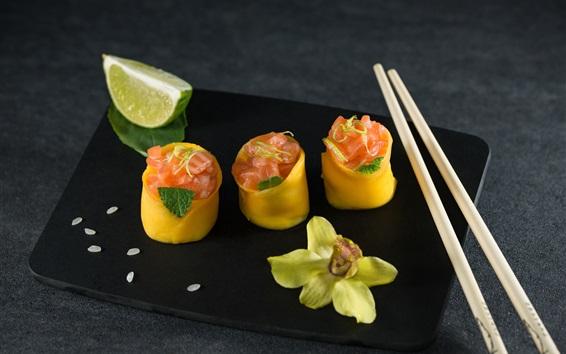 Fondos de pantalla Sushi, comida japonesa, palos