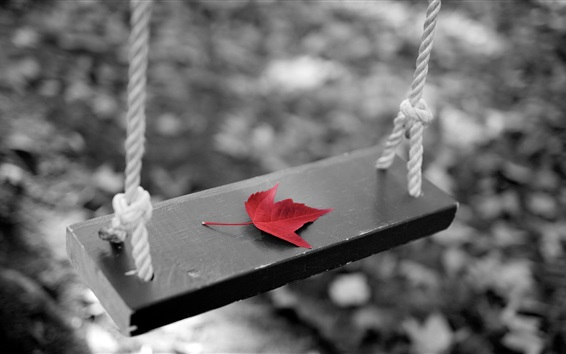 桌布 鞦韆,紅色的楓葉,黑色的白色風格