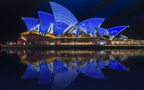 Wallpaper Sydney, Australia, night city, Opera House, illumination, sea