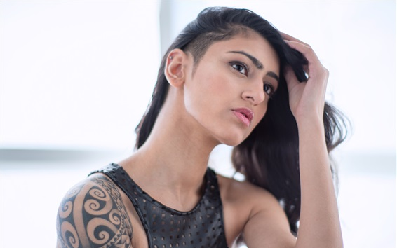 Wallpaper Tattoo girl, hairstyle