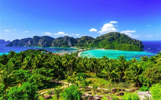 Wallpaper Thailand, Krabi, islands, palm trees, sea, resort