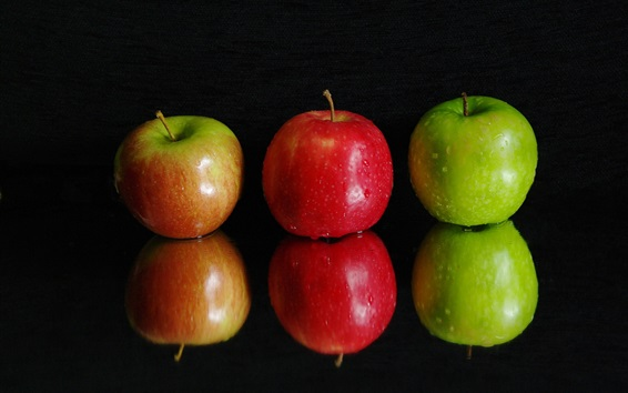 Wallpaper Three apples, green and red, water drops, black background