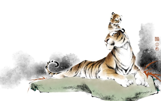 Wallpaper Tigers, Chinese watercolor painting
