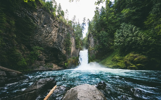Обои Водопад Токетей, водопад, камни, Орегон, США