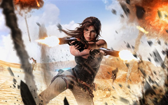 Wallpaper Tomb Raider, Lara Croft, guns, explosions