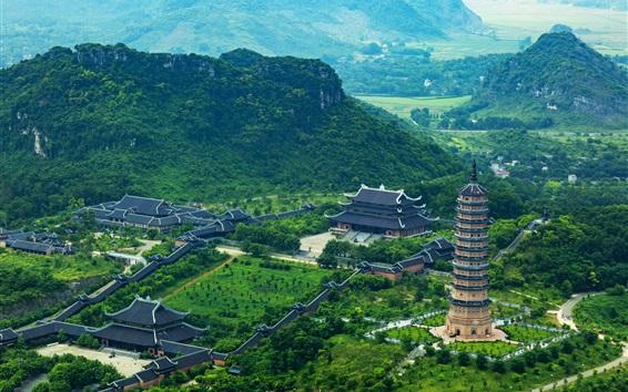 Papéis de Parede Trang An, Vietnã, montanhas, árvores, torre, edifícios