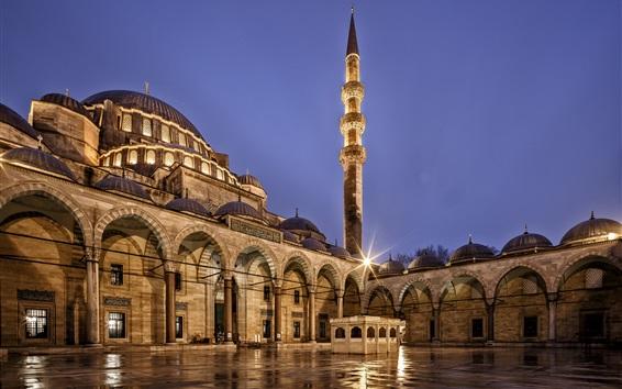 Papéis de Parede Turquia, Istambul, Mesquita Suleymaniye, arquitetura, noite da cidade