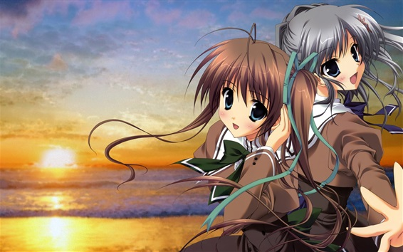 Wallpaper Two anime girls, smile, sunset
