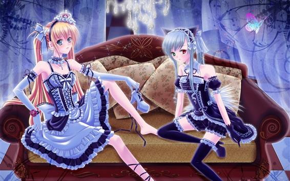 Wallpaper Two anime girls, sofa